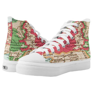 Vintage map of Europe Pattern in Coral and Mint Printed Shoes