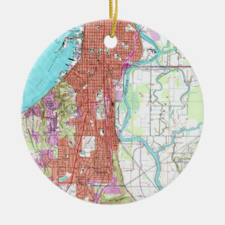 Vintage Map of Everett Washington (1953) Ceramic Ornament