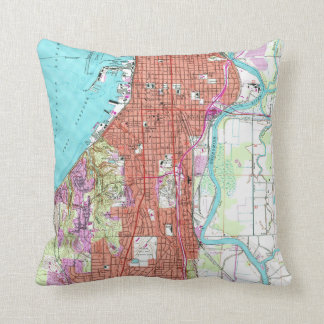 Vintage Map of Everett Washington (1953) Cushion