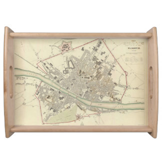 Vintage Map of Florence Italy (1835) Serving Tray