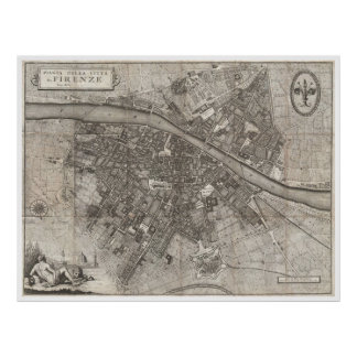 Vintage Map of Florence Italy (1847) Poster