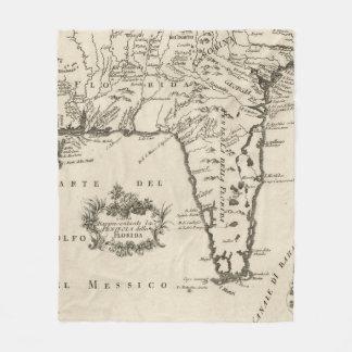 Vintage Map of Florida (1763) 2 Fleece Blanket