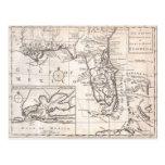 Vintage Map of Florida (1763) Post Card