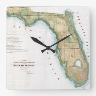Vintage Map of Florida (1848) Square Wall Clock