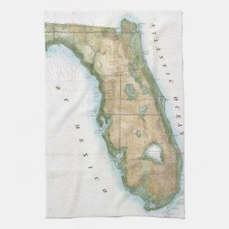 Vintage Map of Florida (1848) Tea Towels