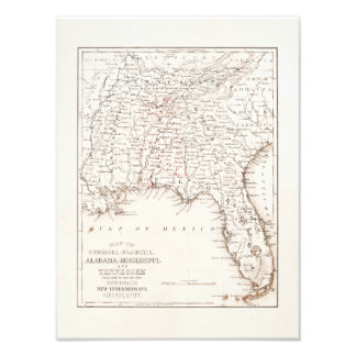 Vintage Map of Florida Alabama Georgia Mississippi Photo Print