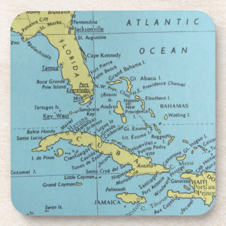 Vintage map of Florida and Cuba coaster