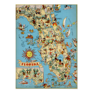 Vintage Map of Florida Poster