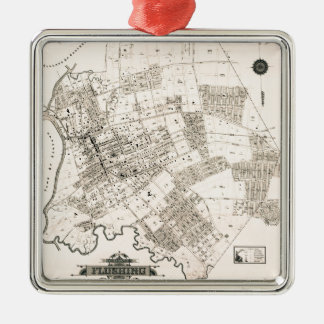 Vintage map of Flushing 1894 Metal Ornament