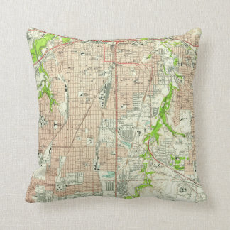 Vintage Map of Fort Worth Texas (1955) Cushion