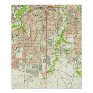Vintage Map of Fort Worth Texas (1955) Poster