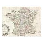 Vintage Map of France (1771) Postcard