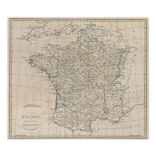Vintage Map of France (1799) Posters