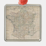 Vintage Map of France (1799) Silver-Colored Square Decoration