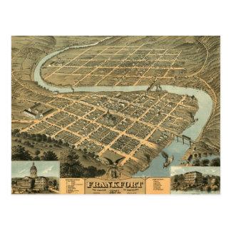 Vintage Map of Frankfort Kentucky Postcard