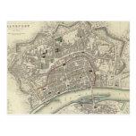 Vintage Map of Frankfurt Germany (1837) Postcard