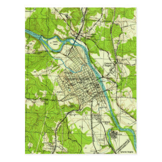 Vintage Map of Fredericksburg Virginia (1944) Postcard