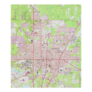 Vintage Map of Gainesville Florida (1966) Poster