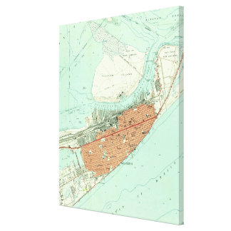 Vintage Map of Galveston Texas (1954) 3 Canvas Print