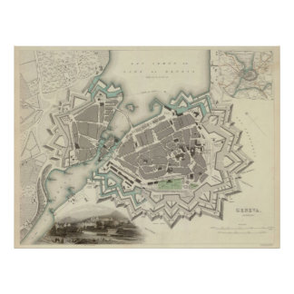 Vintage Map of Geneva (1841) Poster