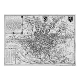 Vintage Map of Ghent Belgium (1650) BW Poster