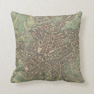 Vintage Map of Ghent Belgium (1650) Throw Pillow