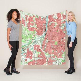 Vintage Map of Grand Rapids Michigan (1967) Fleece Blanket