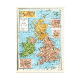 Vintage map of Great Britain and Ireland Canvas Print