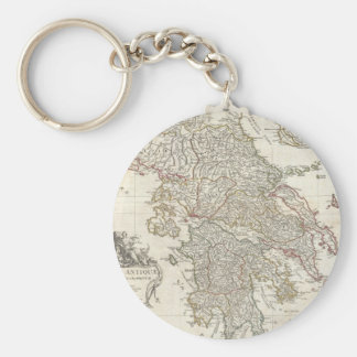 Vintage Map of Greece (1794) Basic Round Button Key Ring