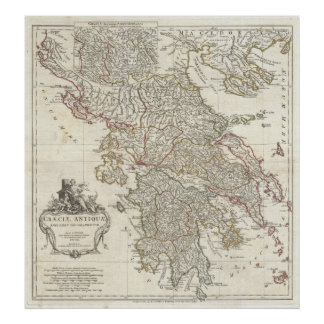 Vintage Map of Greece (1794) Poster