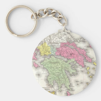Vintage Map of Greece (1853) Basic Round Button Key Ring
