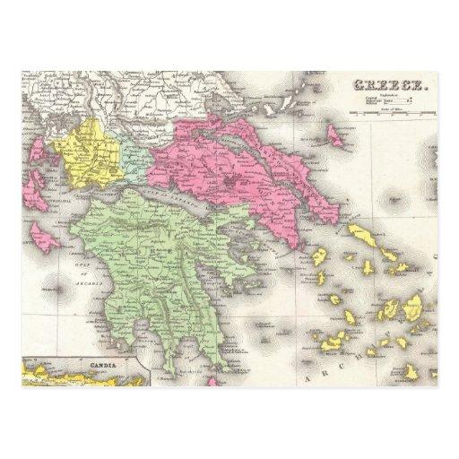 Vintage Map of Greece (1853) Postcards