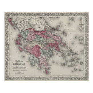 Vintage Map of Greece (1865) Poster