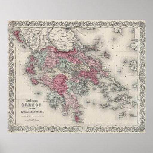 Vintage Map of Greece (1865) Print