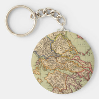 Vintage Map of Greece (1903) Basic Round Button Key Ring