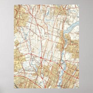 Vintage Map of Hackensack NJ (1940) Poster