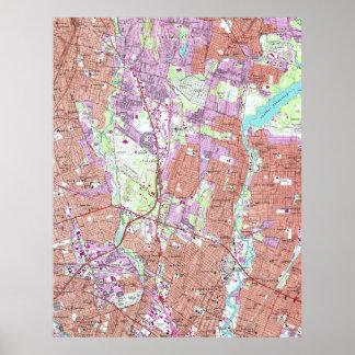 Vintage Map of Hackensack NJ (1955) Poster