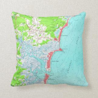 Vintage Map of Hampton Beach New Hampshire (1957) Cushion