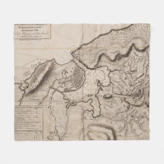 Vintage Map of Havana Cuba (1762) 2 Fleece Blanket
