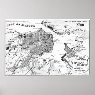Vintage Map of Havana Cuba (1898) 2 BW Poster