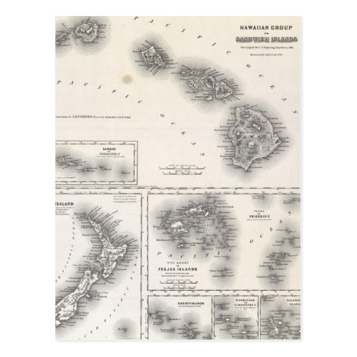 Vintage Map of Hawaii and New Zealand (1855) Postcards