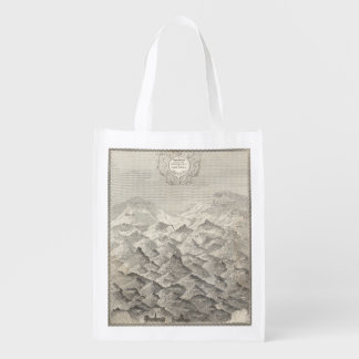 Vintage Map of Hills and Mountains in UK 1837 Reusable Grocery Bag