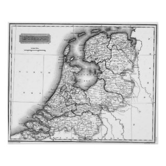 Vintage Map of Holland (1817) BW Poster