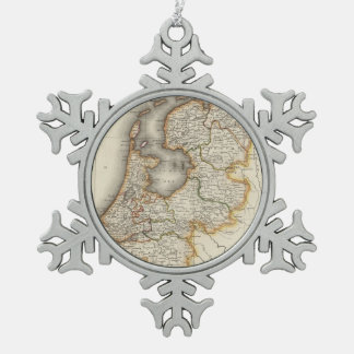 Vintage Map of Holland (1817) Snowflake Pewter Christmas Ornament