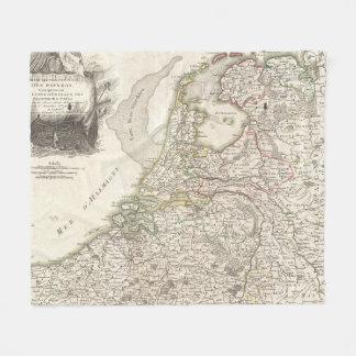 Vintage Map of Holland and Belgium (1775) Fleece Blanket