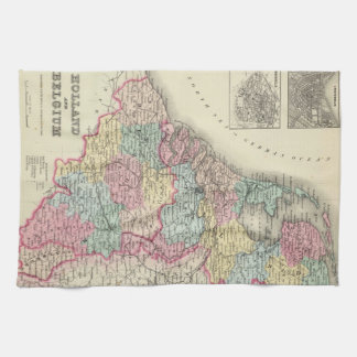 Vintage Map of Holland and Belgium (1856) Tea Towel