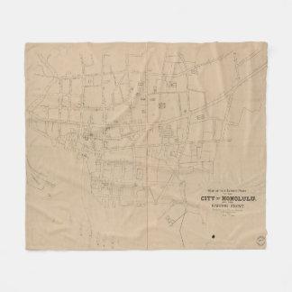Vintage Map of Honolulu Hawaii (1893) Fleece Blanket