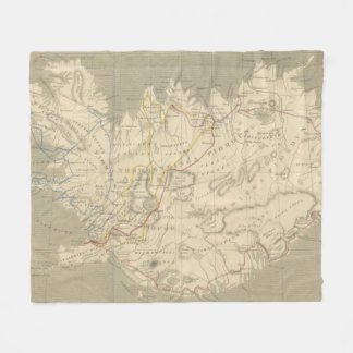 Vintage Map of Iceland (1819) Fleece Blanket