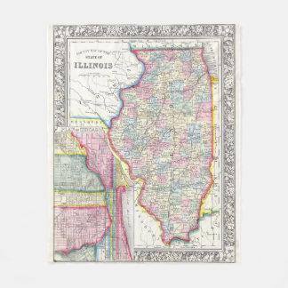 Vintage Map of Illinois (1861) Fleece Blanket