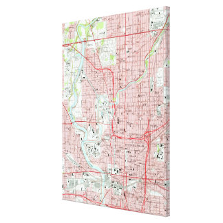 Vintage Map of Indianapolis Indiana (1967) Canvas Print